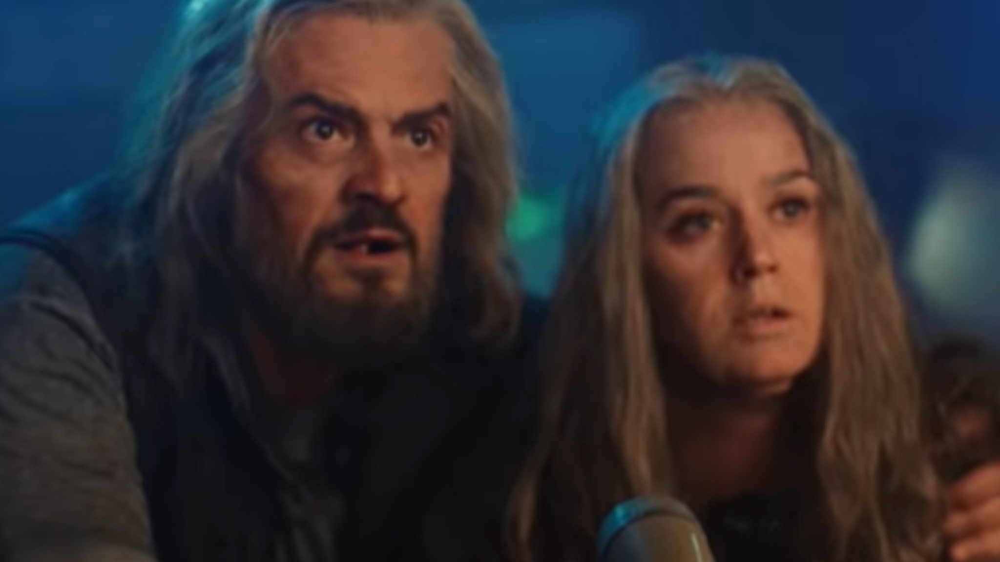 Katy Perry and Orlando Bloom transform into aging freedom fighters to convey a message from the future