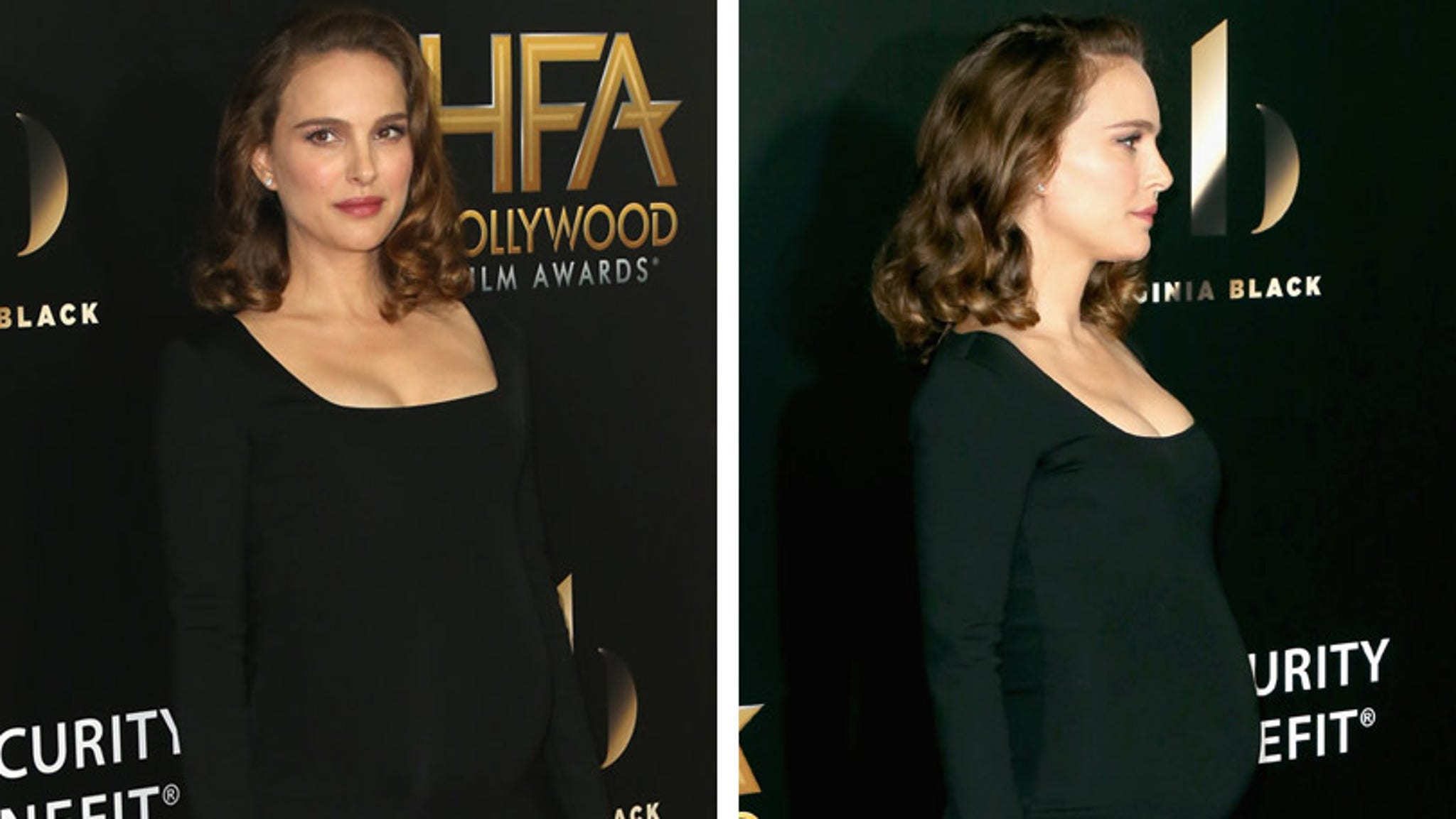 Natalie Portman Flaunts Baby Bump In Chic LBD at Hollywood ...