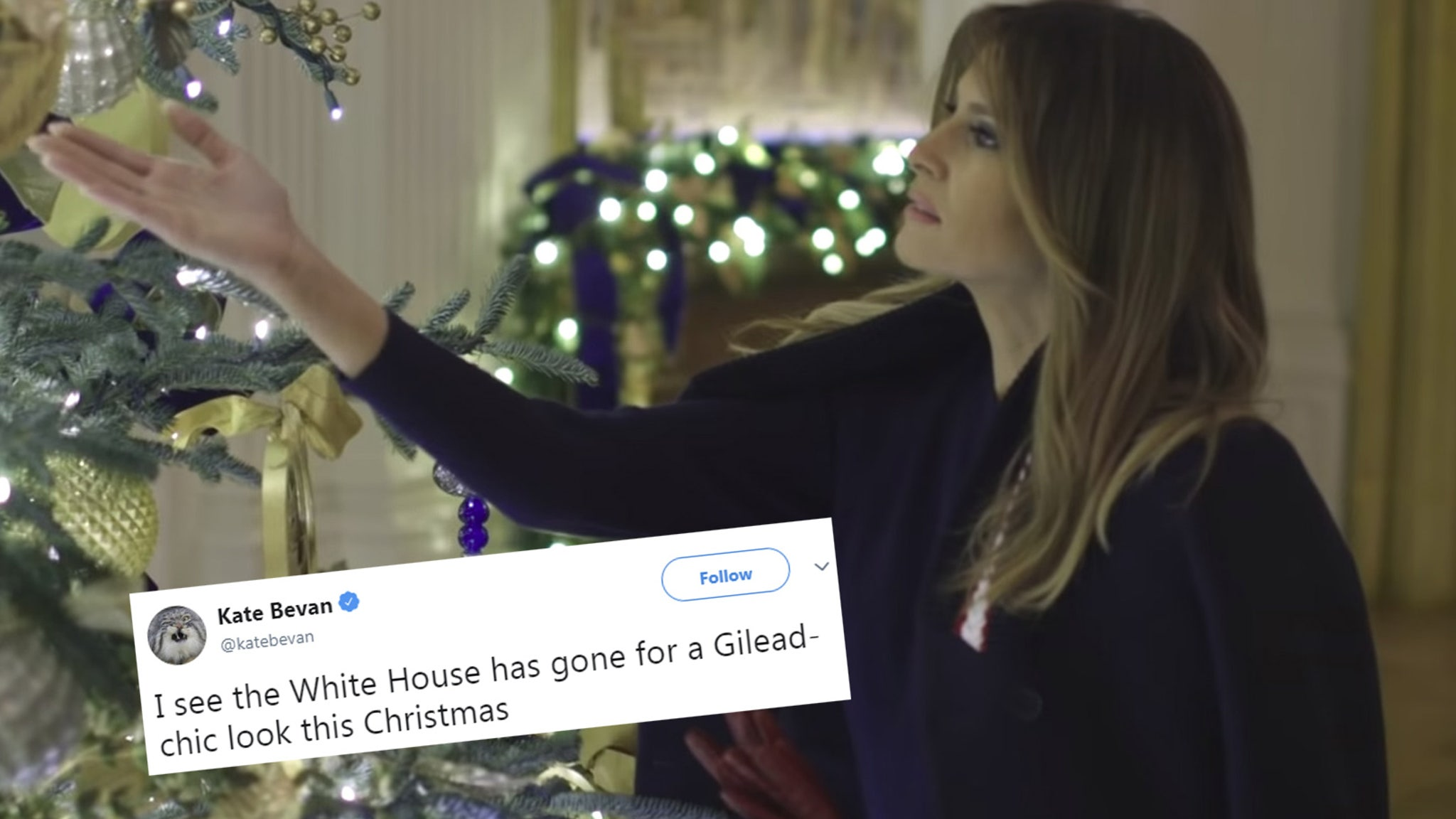 White House Red Christmas Trees Photoshop Twitter 2020 Melania Trump's White House Christmas Decor Draws Horror Movie