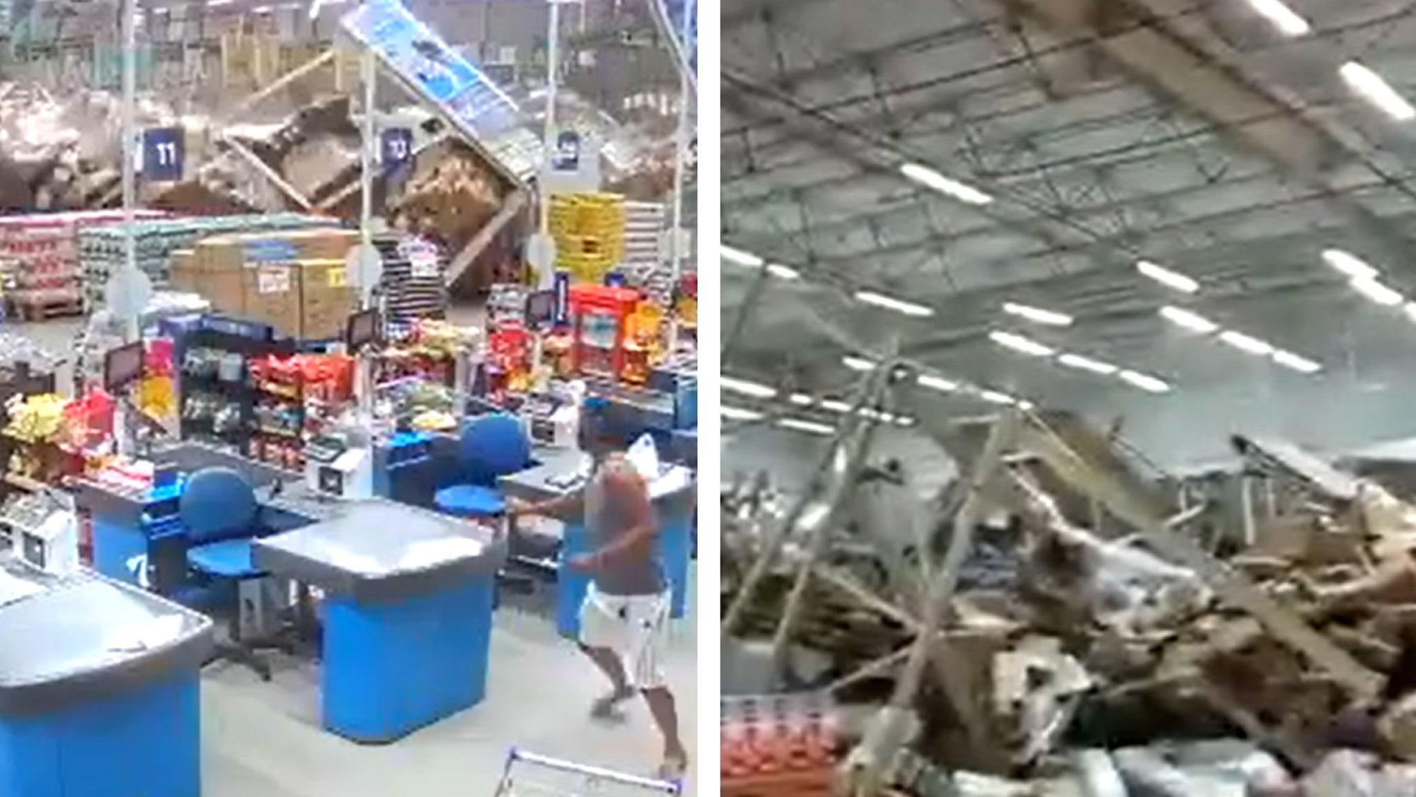 Moment Giant Supermarket Shelves in Brazil Collapse Like Dominoes, Killing One