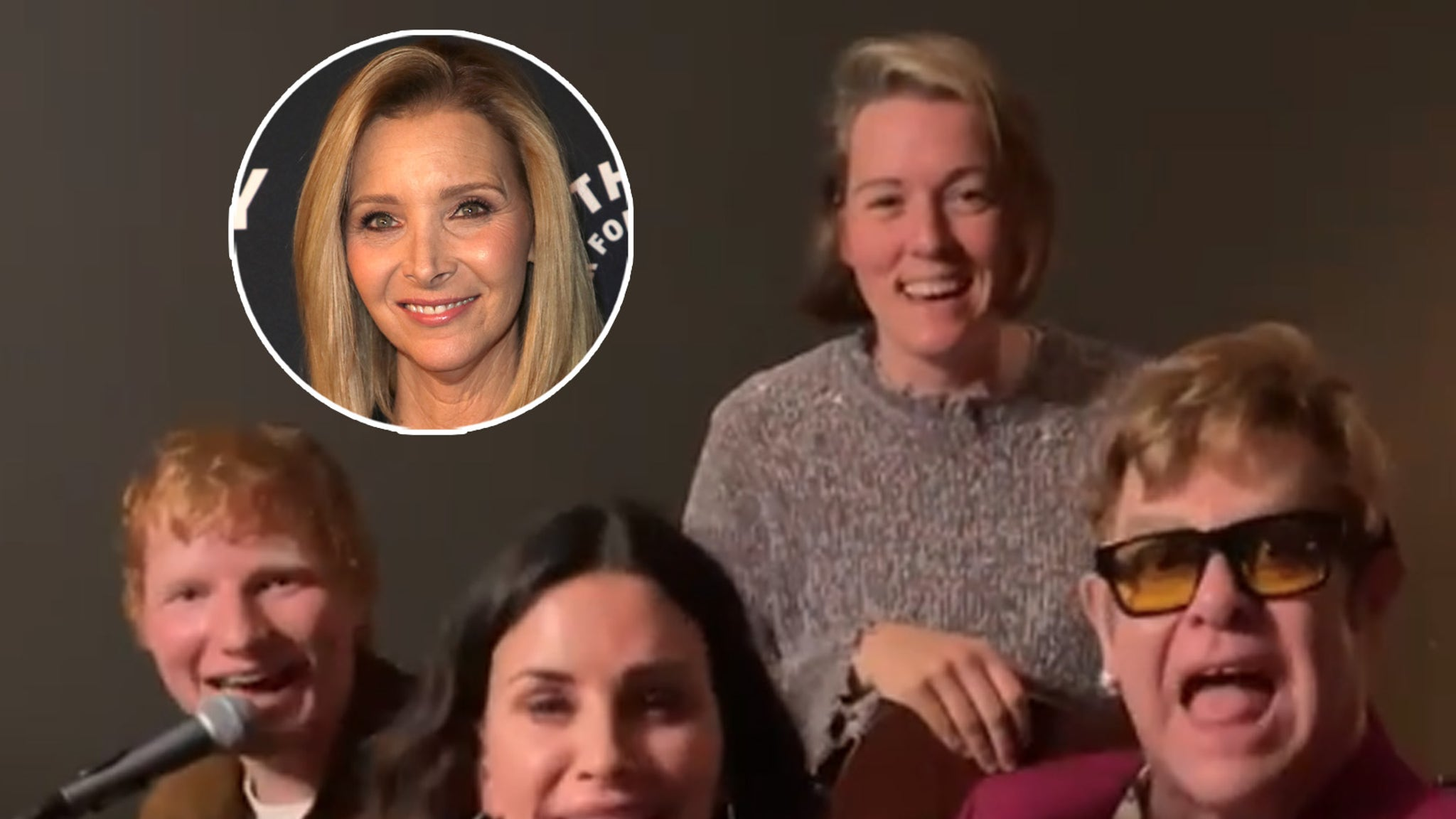 Courteney Cox, Ed Sheeran and Elton John perform 'Tony Danza' for Lisa Kudrow