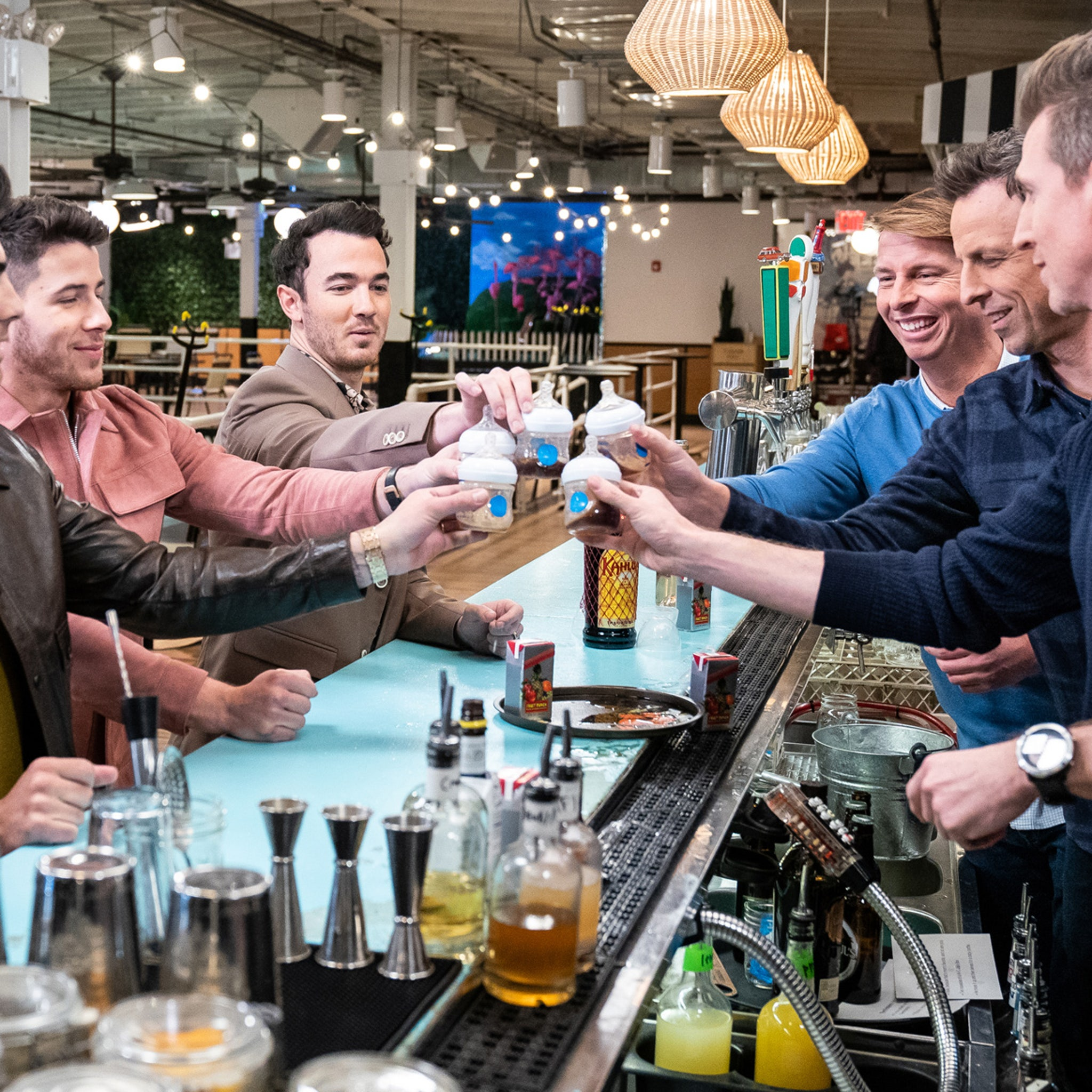 The Jonas Brothers Go Day Drinking with Seth Meyers